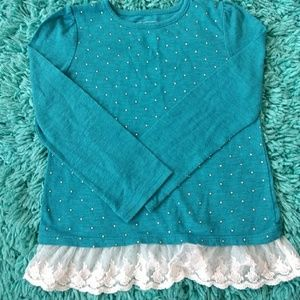 Girls turquoise jeweled shirt-Sonoma size 6